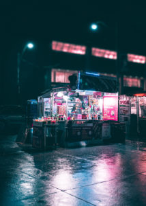 Black and Gray Food Stand During Nighttime img8 214x300