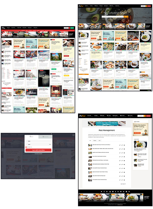 Pin = Pinterest Style / Personal Masonry Blog / Front-end Submission - 1