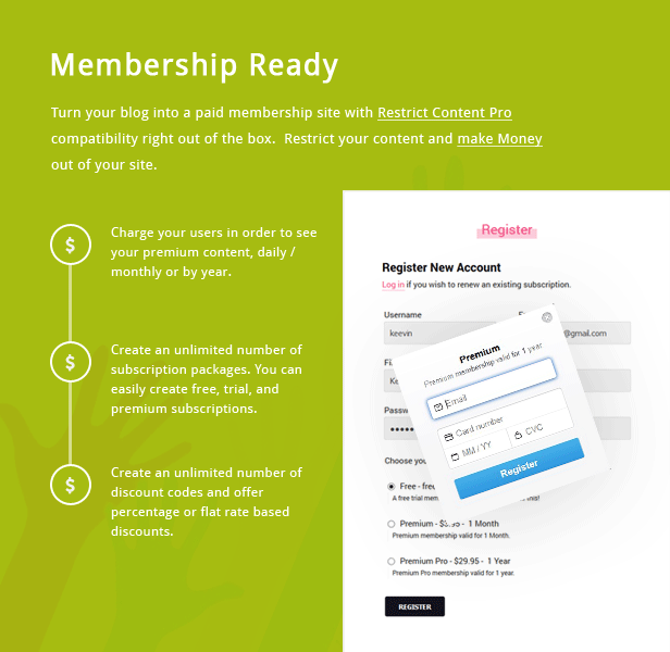 TianLock WP - Restrict Content Pro / Membership WordPress Theme - 1