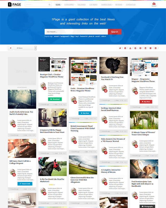 1Page Content sharing WordPress Theme