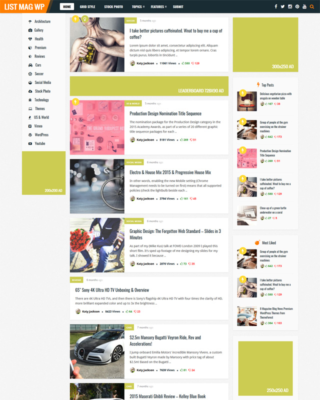 List Mag Content sharing WordPress Themes