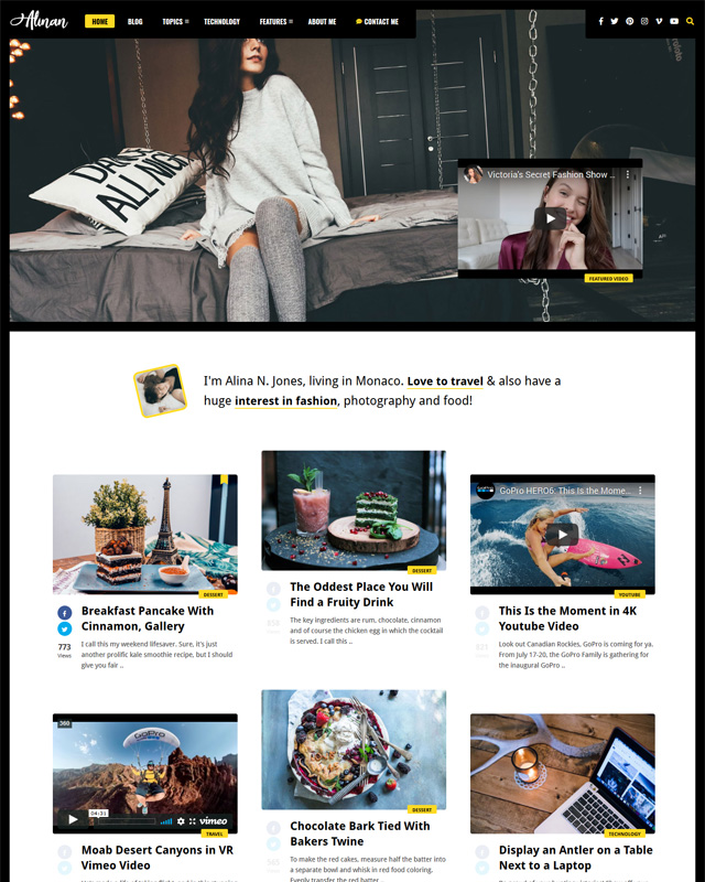 A Simple Personal WordPress Blog and Vlog Theme