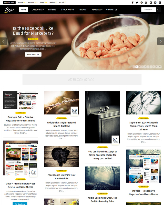 Masonry Review Magazine Blog WordPress Theme