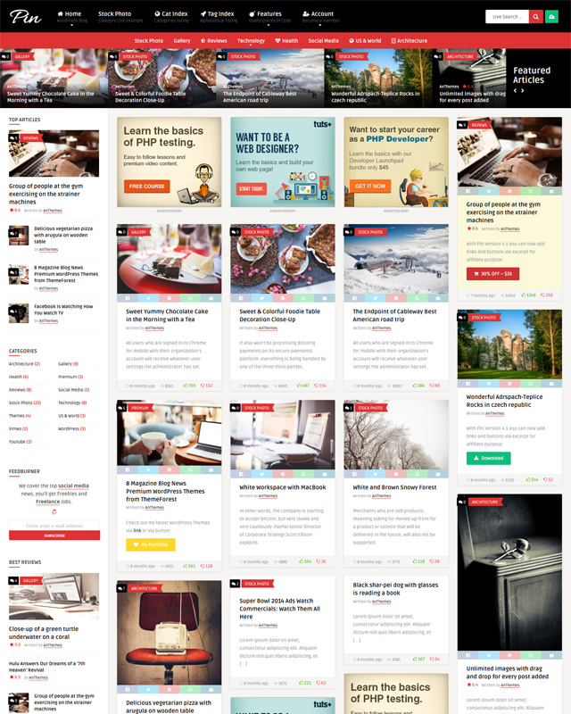 Pin Content sharing WordPress Theme