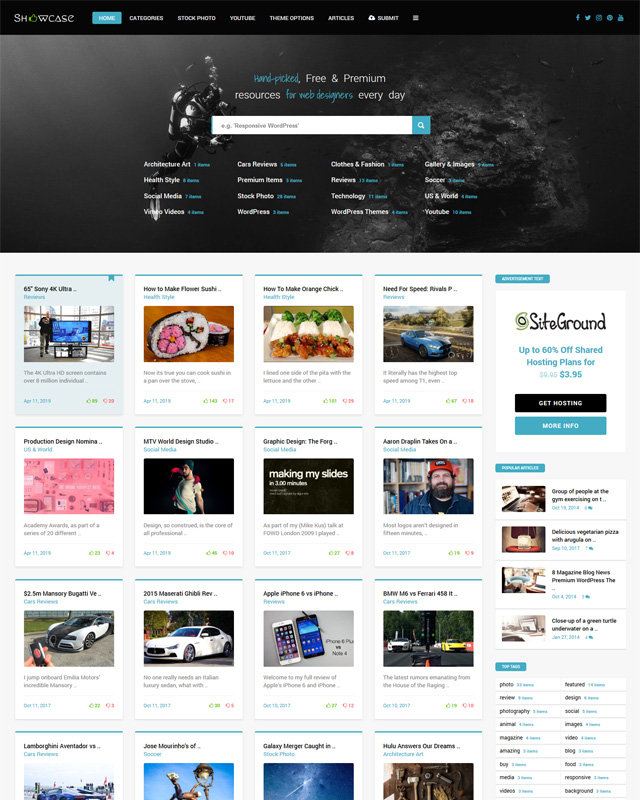 Showcase Content sharing WordPress Theme