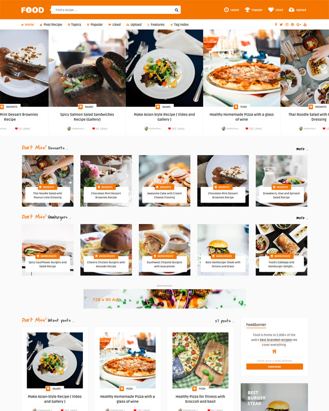 Tasty Food Content sharing WordPress Theme