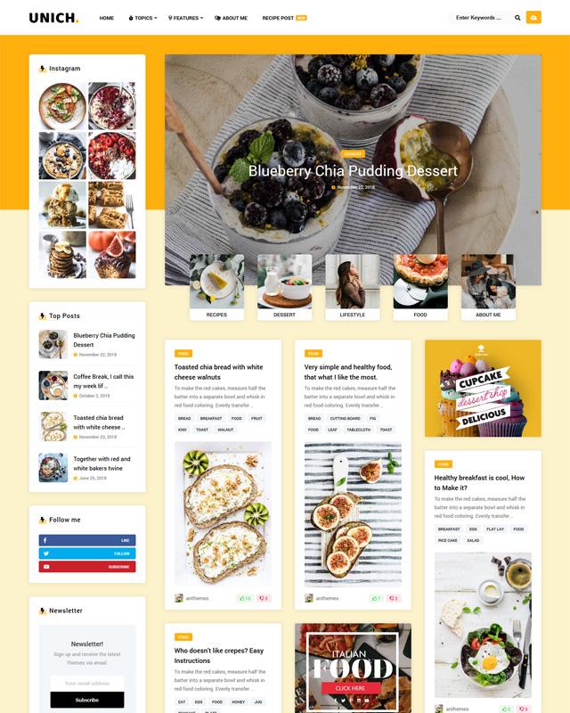 Unich Food Minimalist WordPress Themes