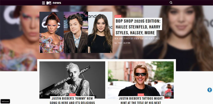 MTV Blog Using WordPress Platform