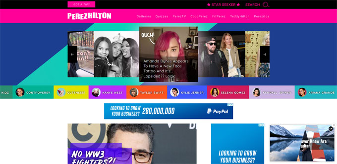 Perez Hilton built with WordPress