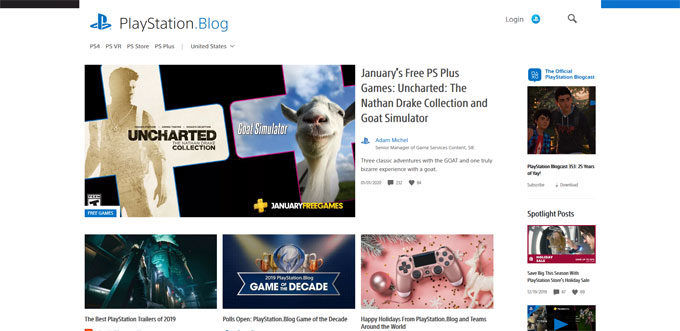 Playstation blog with WordPress