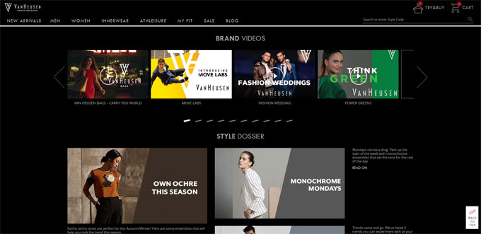 Van Heusen blog built with wordpress