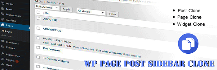 wp page post widget clone wordpress plugin
